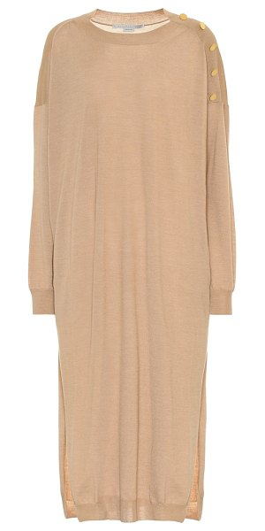Stella McCartney wool and silk midi dress in beige