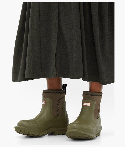 Stella McCartney x hunter rubber rain boots in khaki