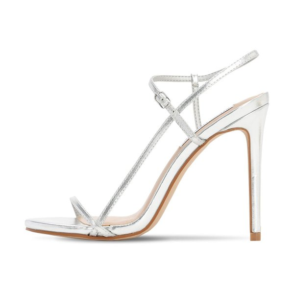 Steve Madden 120mm metallic faux leather sandals in silver