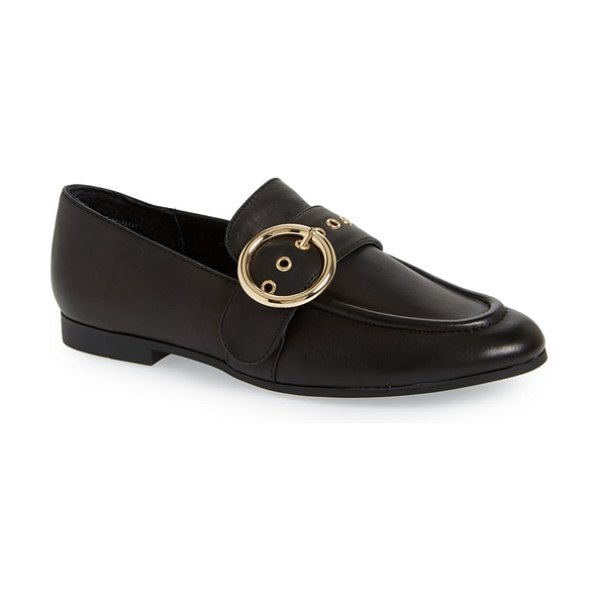 Steve Madden balance loafer in black leather - A polished ring buckle accents the belted strap of a...