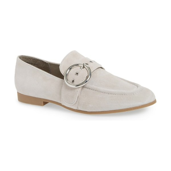 Steve Madden balance loafer in grey suede - A polished ring buckle accents the belted strap of a...