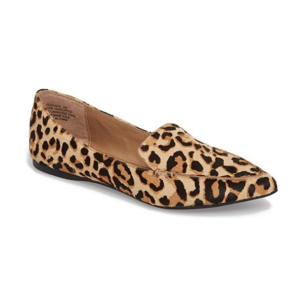 Steve Madden feather-l genuine calf hair loafer flat in leopard - Leopard-spotted calf hair livens up a pointy-toe loafer...