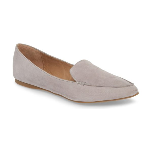 Steve Madden feather loafer flat in grey suede - A pointed toe refines the loafer-inspired silhouette of...