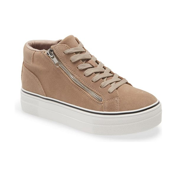 Steve Madden gryphon suede high top sneaker in taupe suede