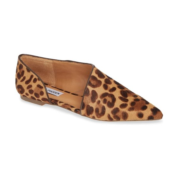 Steve Madden hensley pointy toe flat in leopard print calf hair