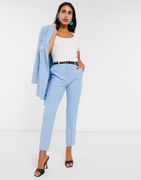 Stradivarius belted tailored pants in blue in blue