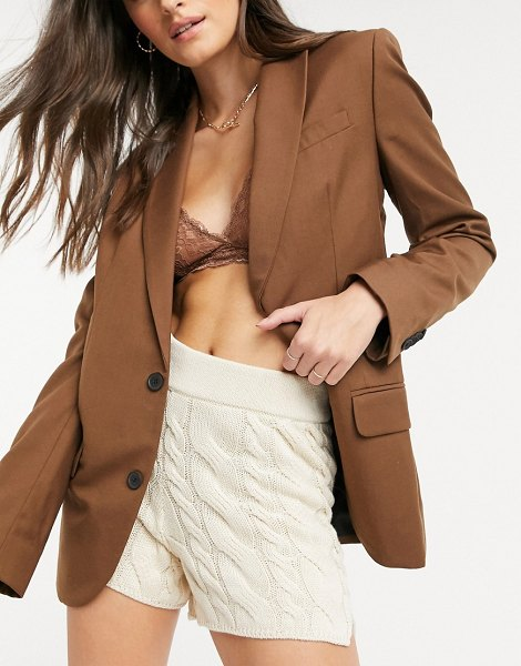 Stradivarius cable knit shorts set in beige in beige