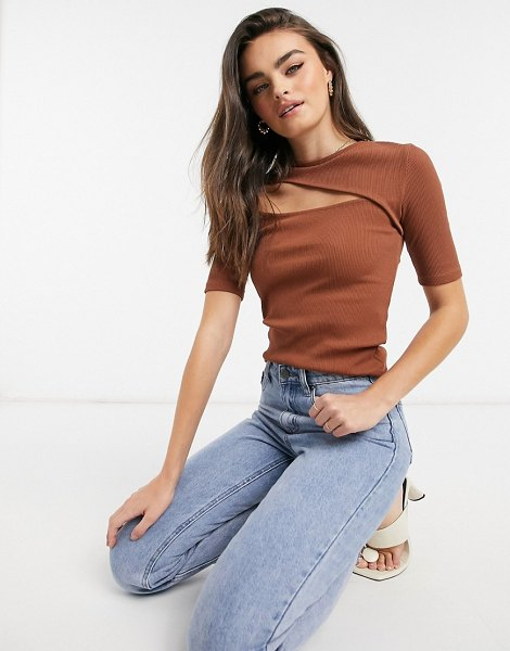 Stradivarius jersey top with cut out in brown-black in black