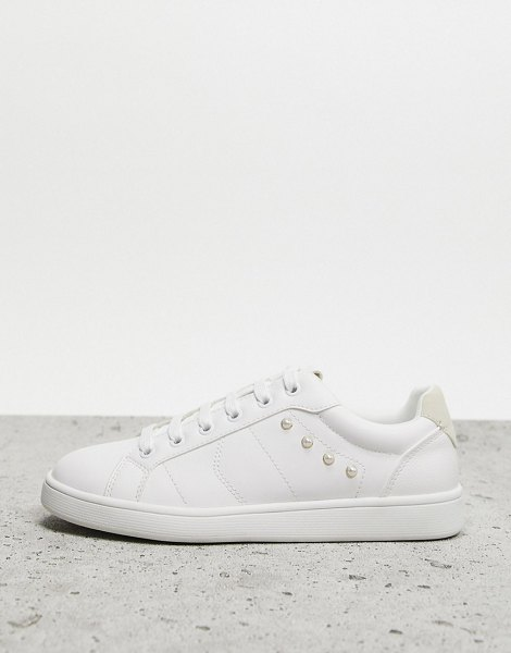 Stradivarius lace front sneakers in white in white