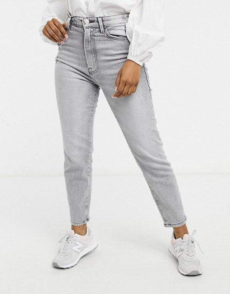 Stradivarius organic cotton slim mom jeans with stretch in gray-grey in grey
