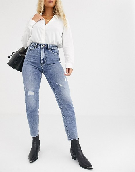 Stradivarius slim mom jean with stretch and rip detail in light blue in blue