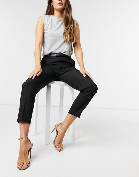 Stradivarius tailored pants with belt in black in black