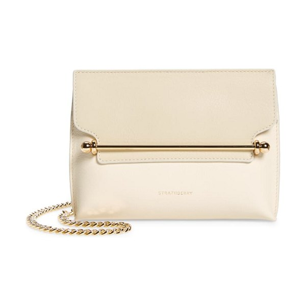 STRATHBERRY mini stylist bicolor leather crossbody bag in vanilla/diamond