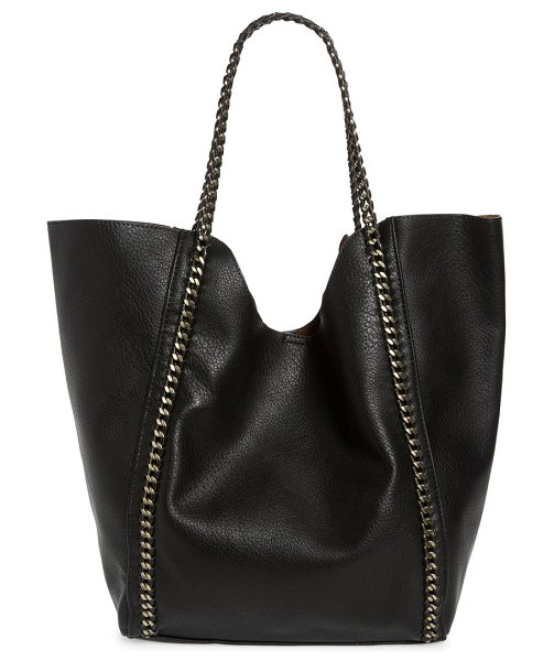 Street Level chain faux leather tote in black