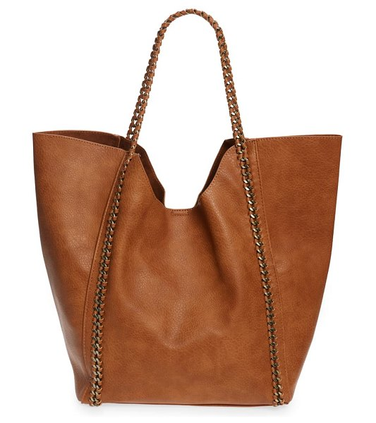 Street Level chain faux leather tote in brown