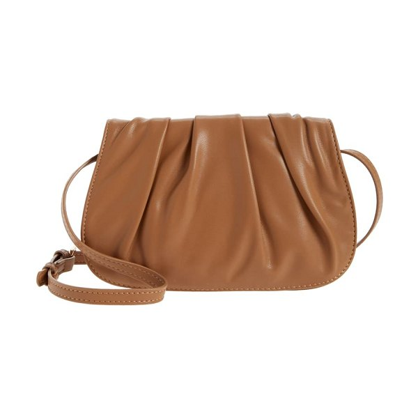 Street Level gathered faux leather crossbody bag in taupe