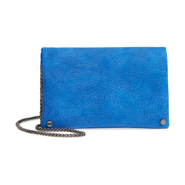 Street Level studded faux leather clutch in cobalt blue - Polished disc  studs mark the corners ee6da98fd9f0e
