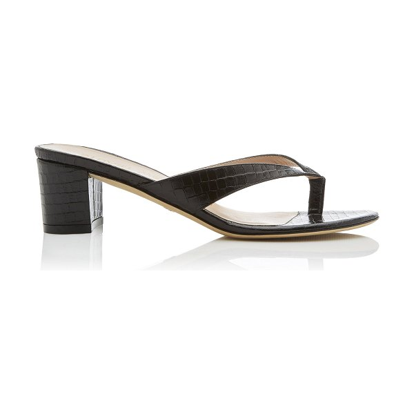 Stuart Weitzman brigida croc-effect leather sandals in black