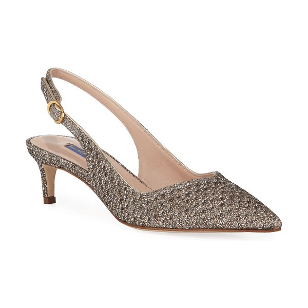 Stuart Weitzman Edith Metallic Slingback Cocktail Pump in platino