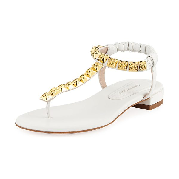 6cc5f8cfd6cb6c Stuart Weitzman Esme Studded Flat Thong Sandals in White