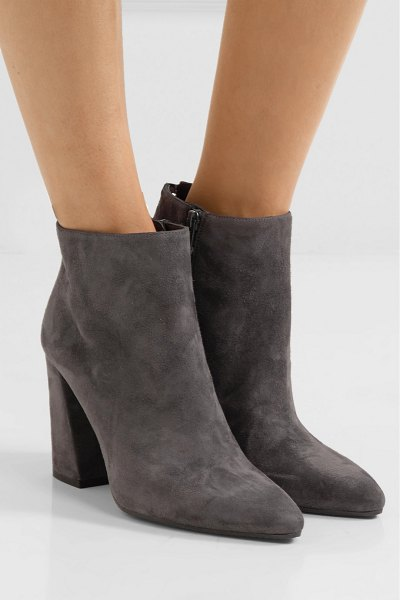 Stuart Weitzman grandiose suede ankle boots in gray - Stuart Weitzman's boots have drawstring ties at the back...