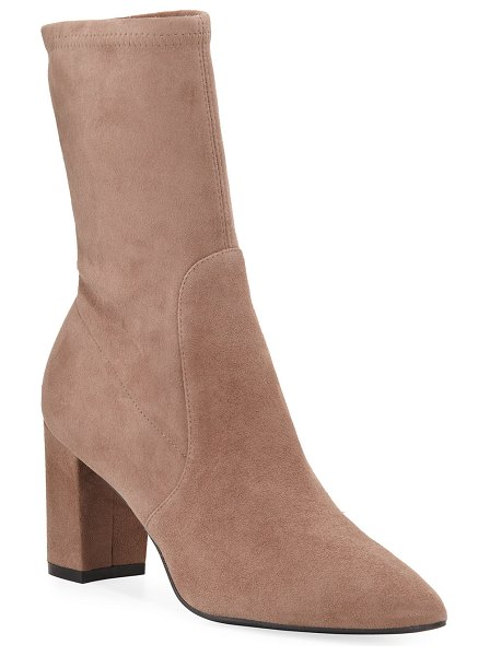 Stuart Weitzman Landry Stretch Suede Booties in taupe