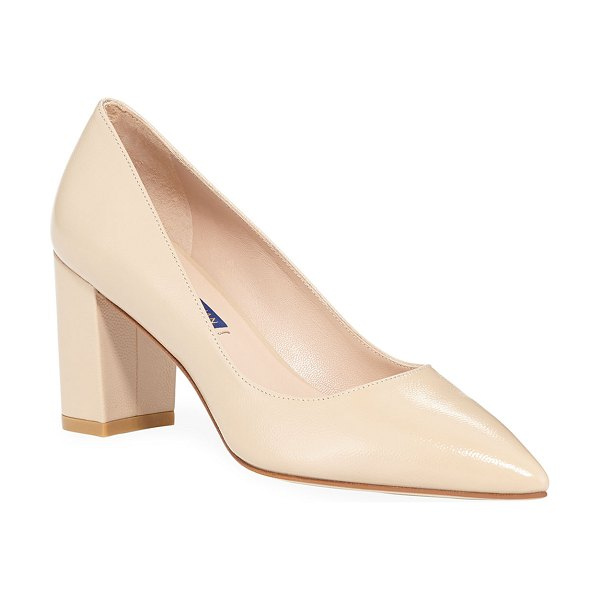 Stuart Weitzman Laney Caviar Patent Leather Pumps in beige