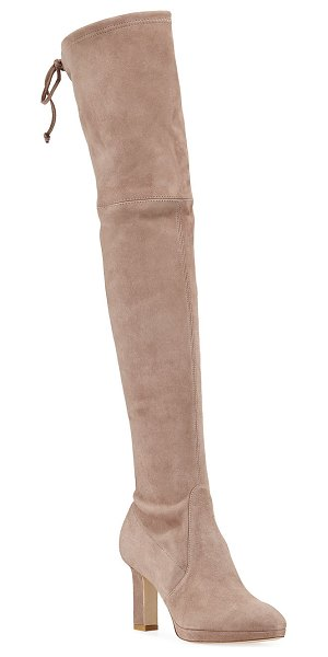 Stuart Weitzman Ledyland Suede Over-The-Knee Boots in taupe