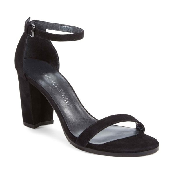 Stuart Weitzman nearlynude ankle strap sandal in black suede