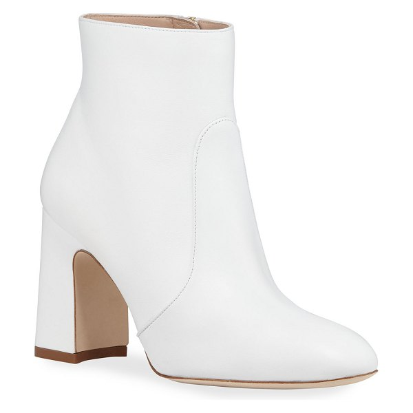Stuart Weitzman Nell Smooth Napa Booties in white