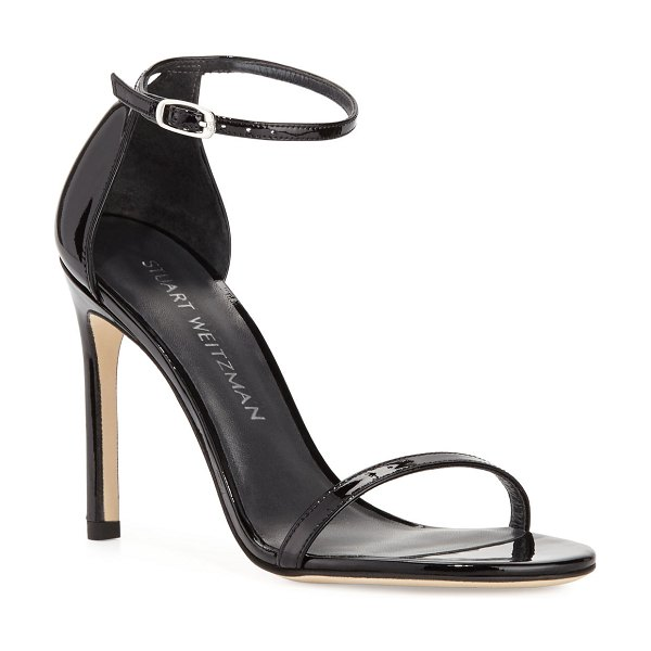 Stuart Weitzman Nudistsong Patent Ankle-Wrap Sandals in black