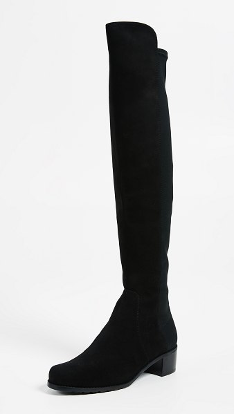 Stuart Weitzman reserve stretch suede boots in black