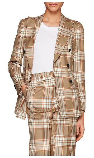 SUISTUDIO cameron double breasted check wool jacket in camel/ orange check