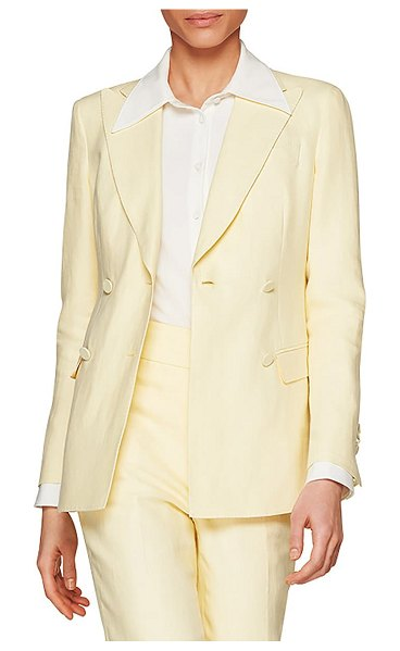 SUISTUDIO cameron double breasted linen suit jacket in pale yellow