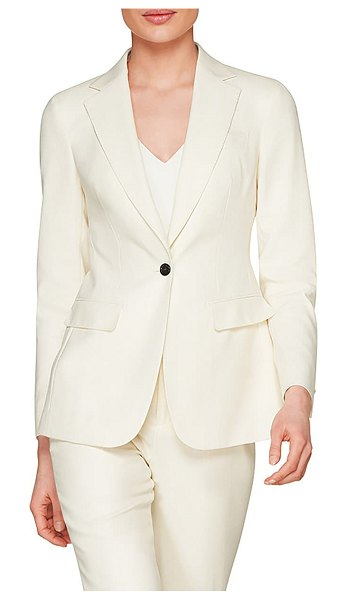 SUISTUDIO cameron single breasted wool blazer in off white