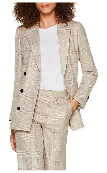 SUISTUDIO joss double breasted plaid wool blend suit jacket in light brown check