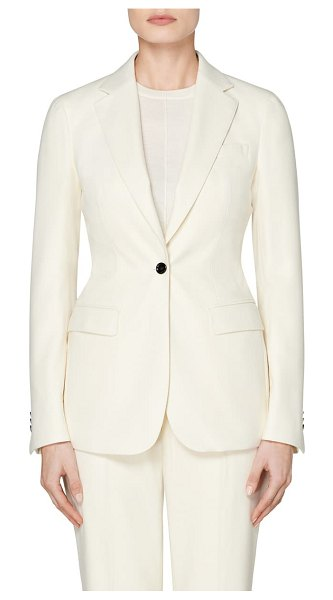 SUISTUDIO cameron single breasted wool jacket in off white
