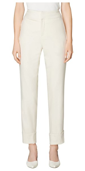SUISTUDIO lane cuffed wool ankle trousers in off white