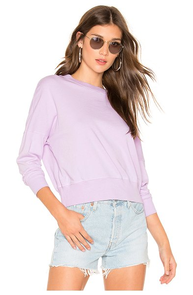 Sundry Lightweight Sweater in lavender - Cotton blend. Rib knit trim. Made in USA. SDRY-WK105. T1...