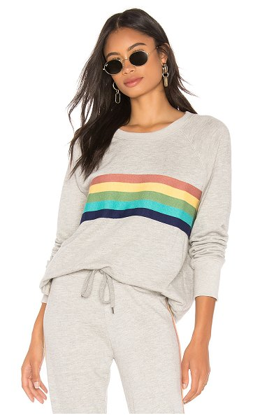 Sundry Rainbow Stripes Raglan Pullover in gray - 63% cotton 37% rayon. Front knit striping detail. Ribbed...