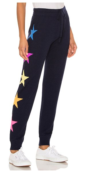 Sundry Side Stars Cozy Cashmere Blend Sweatpants in navy - 70% wool 30% cashmere. Adjustable drawstring waist....