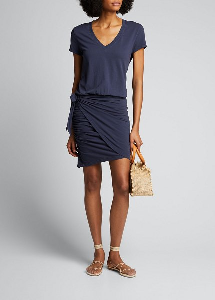 Sundry Tie-Waist V-Neck Tee Dress in navy