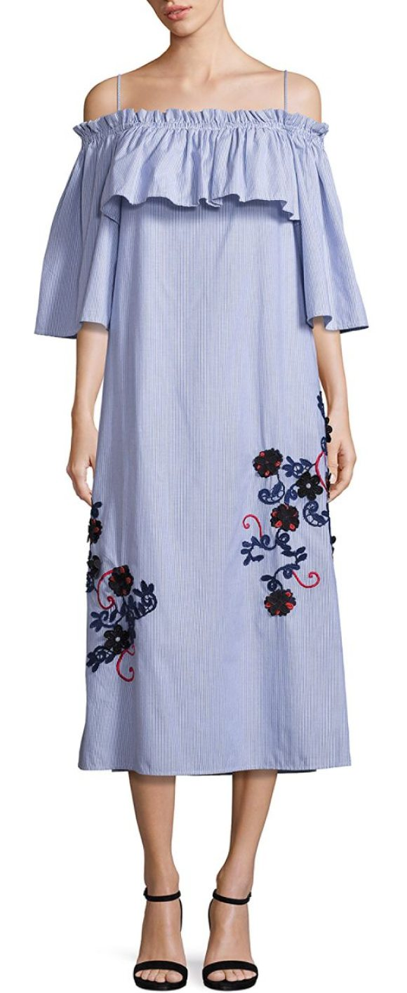 Suno Embroidered Off Shoulder Pinstripe Dress In Striped Pinstriped Cotton With Ruched Ruffles