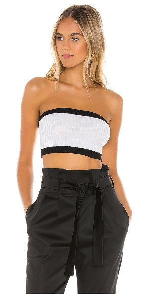 superdown alison strapless crop top in black & white