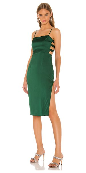 superdown arianne cut out dress in forest green
