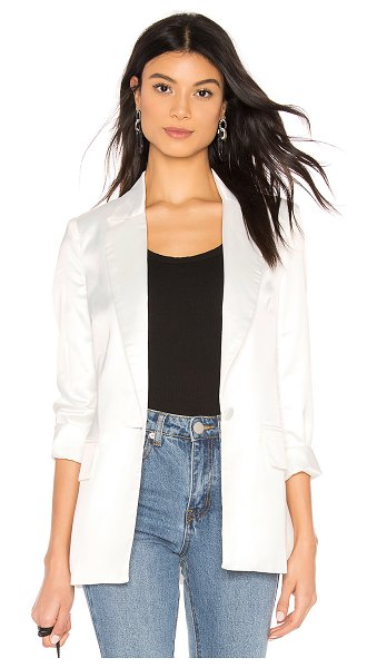 superdown Kendra Button Up Blazer in white - 100% poly. Hand wash cold. Padded shoulders. Exposed...