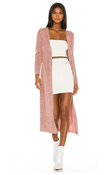 superdown lucy long cardigan in rose