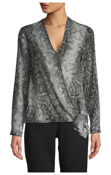 SUPPLY & DEMAND Snakeskin-Print Faux-Wrap Top in grey multi