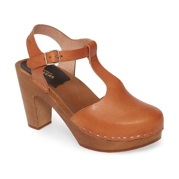 Swedish Hasbeens sky t-strap pump in cognac leather