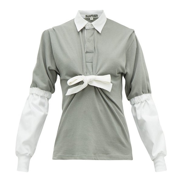 Symonds Pearmain contrast-sleeve tie-front cotton-jersey rugby top in grey